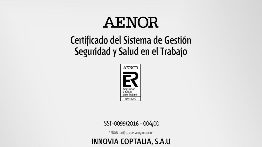 Innovia Coptalia obtiene la nueva certificación ISO 45001:2018
